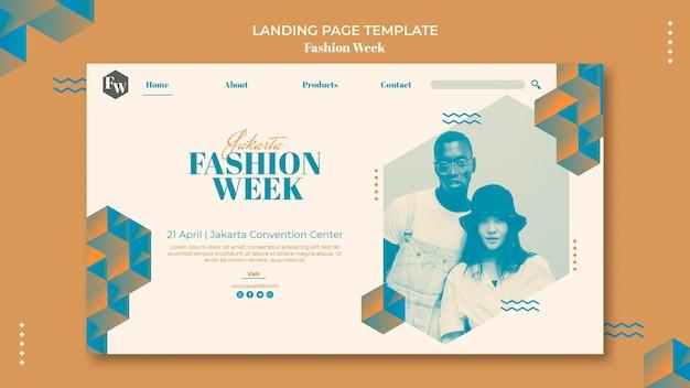 Modelo de página de destino da semana da moda