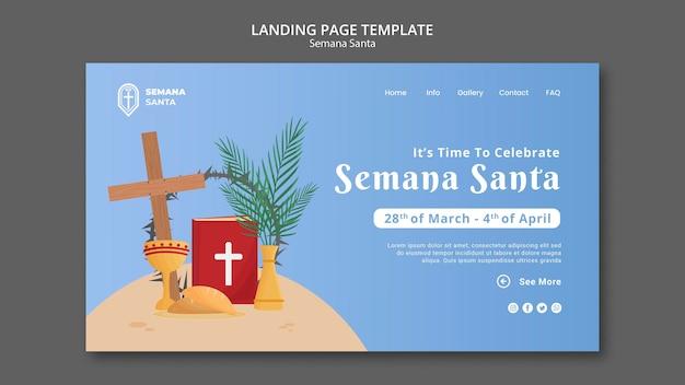 Modelo de página de destino da semana santa ilustrado