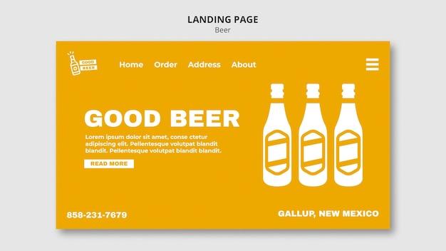Modelo de página de destino da web para cerveja