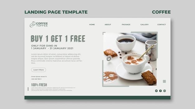 Modelo de página de destino da xícara de café