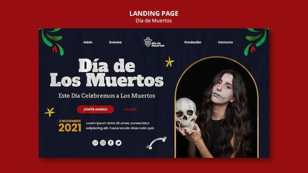 Modelo de página de destino dark dia de muertos