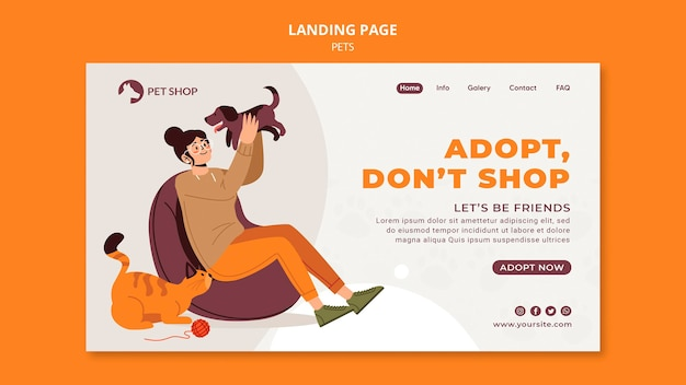 Modelo de página de destino de adoção de pet shop