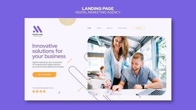 Modelo de página de destino de agência de marketing digital Psd Premium