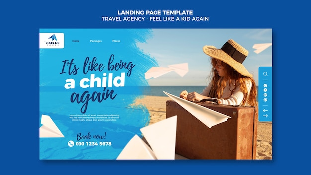 Modelo de página de destino de agência de viagens