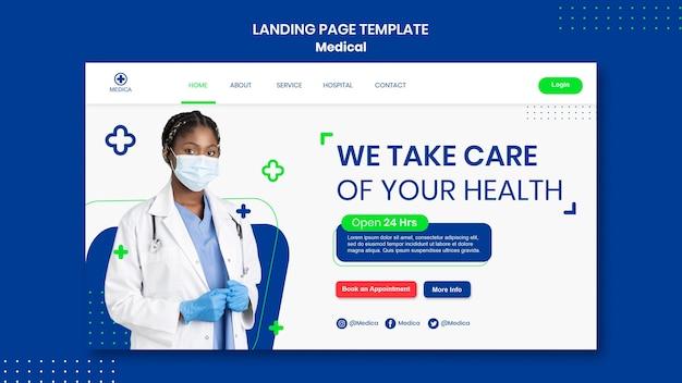 Modelo de página de destino de ajuda médica