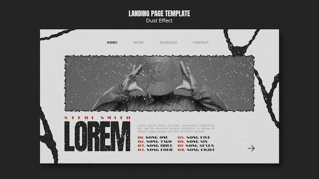 Modelo de página de destino de álbum de música com efeito de poeira