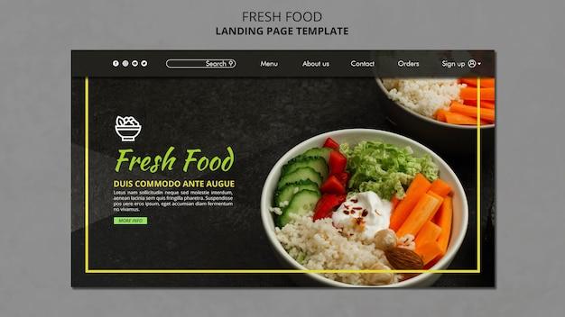 Modelo de página de destino de alimentos frescos