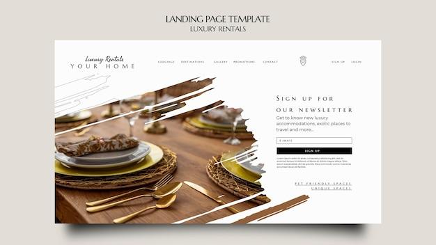 Modelo de página de destino de aluguel de luxo