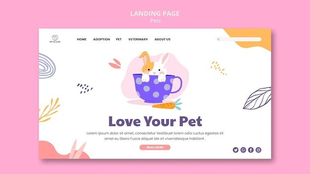 Modelo de página de destino de amor para animais de estimação