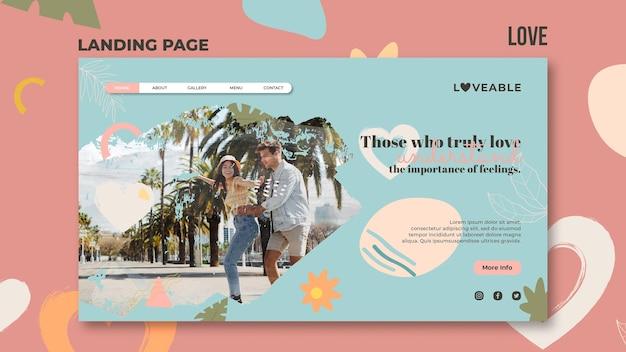 Modelo de página de destino de amor Psd Premium