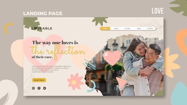 Modelo de página de destino de amor Psd grátis