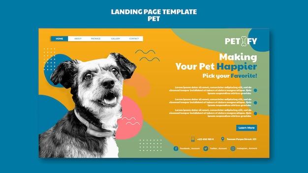 Modelo de página de destino de animal de estimação fofo