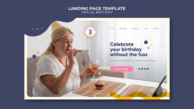 Modelo de página de destino de aniversário virtual