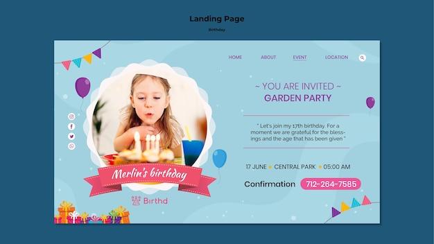 Modelo de página de destino de aniversário