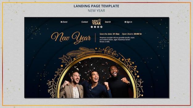 Modelo de página de destino de ano novo com detalhes dourados