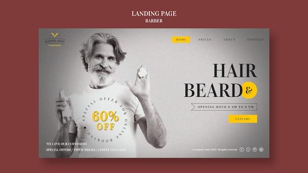 Modelo de página de destino de anúncio de barbearia