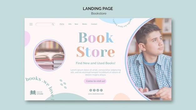 Modelo de página de destino de anúncio de livraria