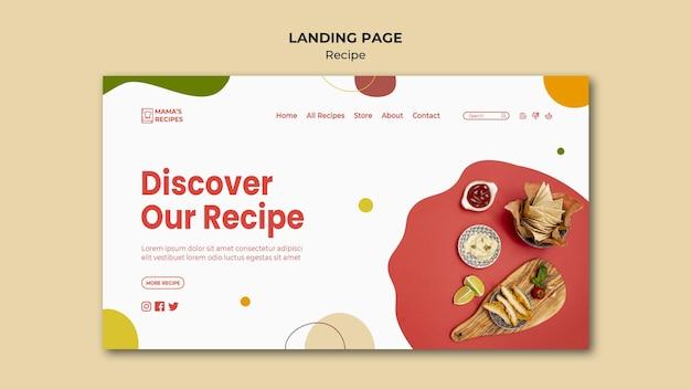 Modelo de página de destino de anúncio de receitas