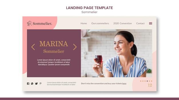 Modelo de página de destino de anúncio de sommelier