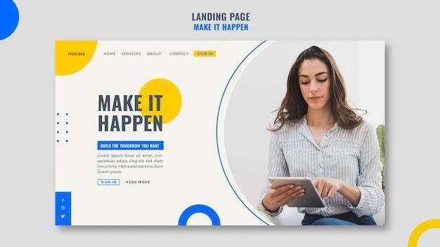 Modelo de página de destino de anúncio empresarial de memphis Psd Premium