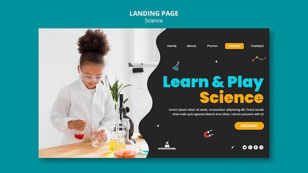 Modelo de página de destino de aprendizagem científica