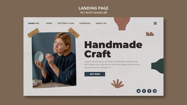 Modelo de página de destino de arte e artesanato