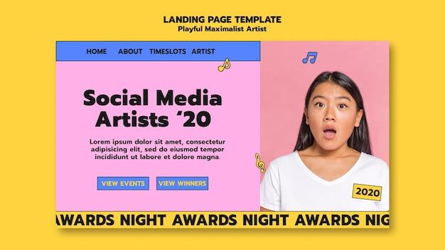 Modelo de página de destino de artista de mídia social