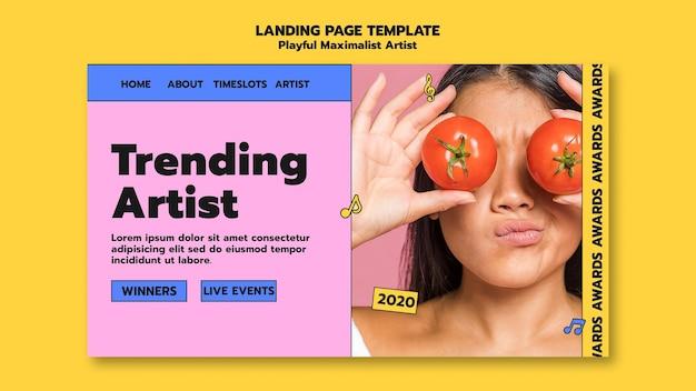 Modelo de página de destino de artista em alta