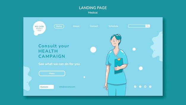 Modelo de página de destino de assistência médica