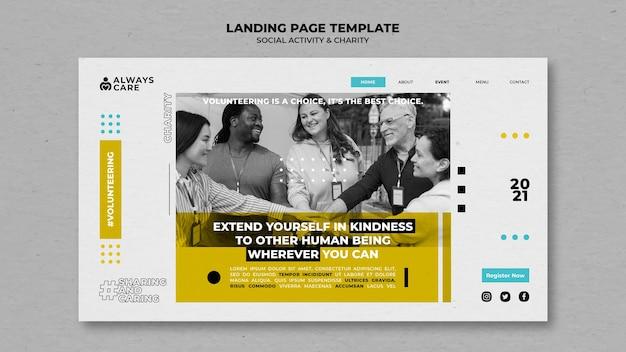 Modelo de página de destino de atividade social e caridade