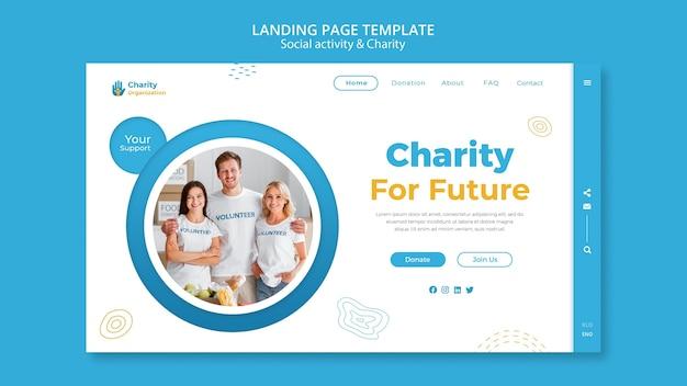 Modelo de página de destino de atividades de caridade