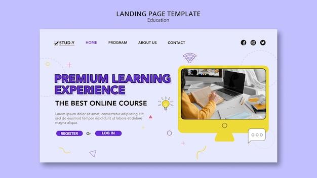Modelo de página de destino de aula online