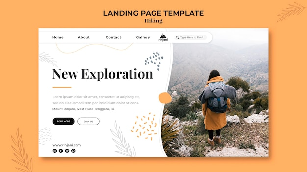 Modelo de página de destino de aventura de caminhada