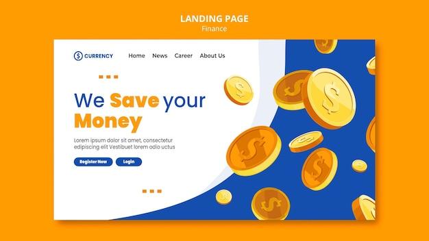 Modelo de página de destino de banco online