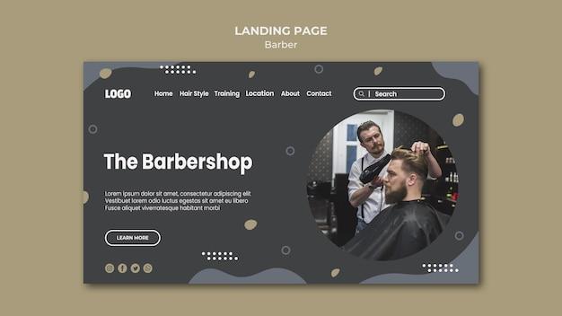 Modelo de página de destino de barbearia