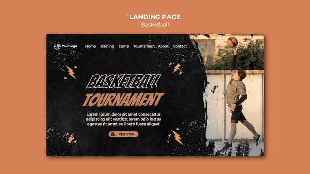 Modelo de página de destino de basquete com foto