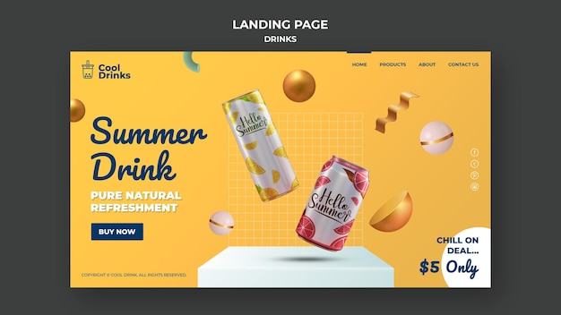 Modelo de página de destino de bebidas de verão puro refresco