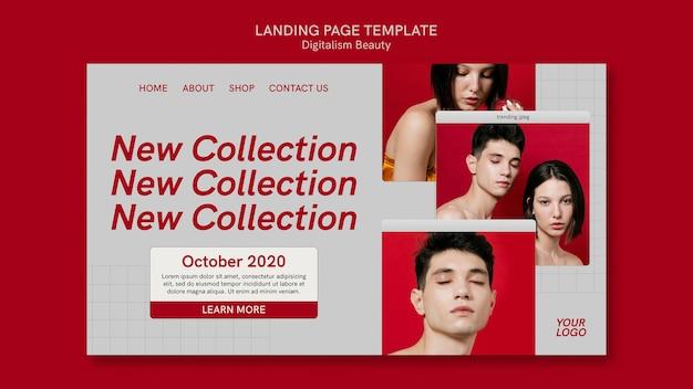 Modelo de página de destino de beleza digital