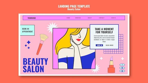 Modelo de página de destino de beleza pop art