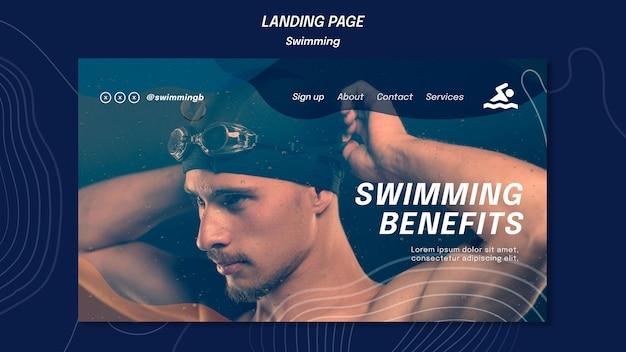 Modelo de página de destino de benefícios da natação