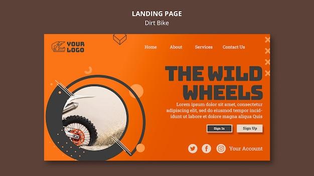 Modelo de página de destino de bicicleta suja