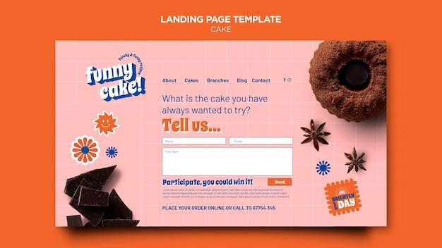 Modelo de página de destino de bolo delicioso