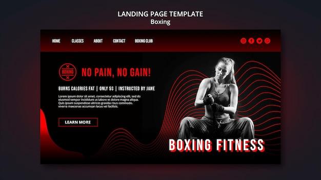 Modelo de página de destino de boxe com foto