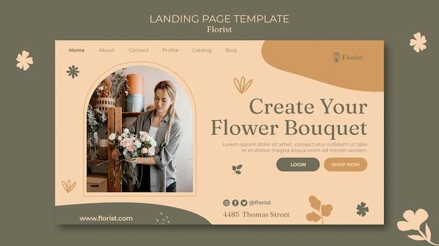 Modelo de página de destino de buquê de flores