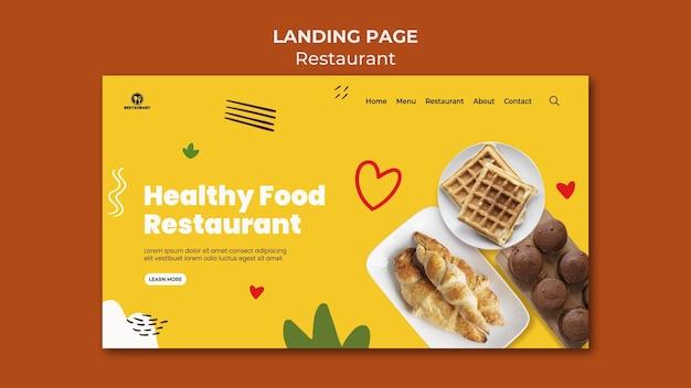 Modelo de página de destino de café da manhã com alimentação saudável