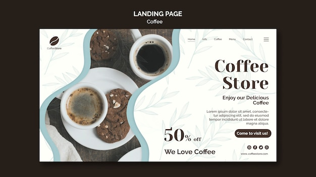 Modelo de página de destino de cafeteria