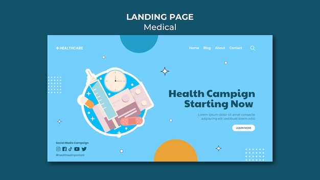 Modelo de página de destino de campanha de saúde