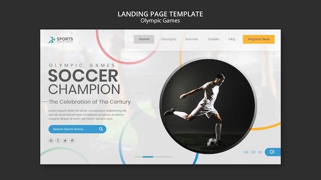 Modelo de página de destino de campeão de futebol