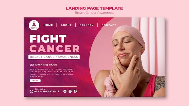 Modelo de página de destino de câncer de mama rosa