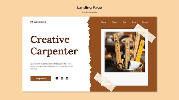 Modelo de página de destino de carpinteiro criativo